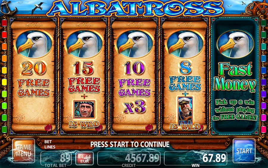 Albatross Video Slot Game - Bonus Screen