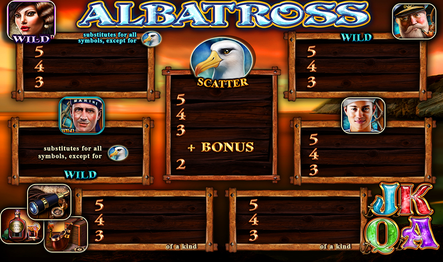 Albatross Video Slot Game - Paytable