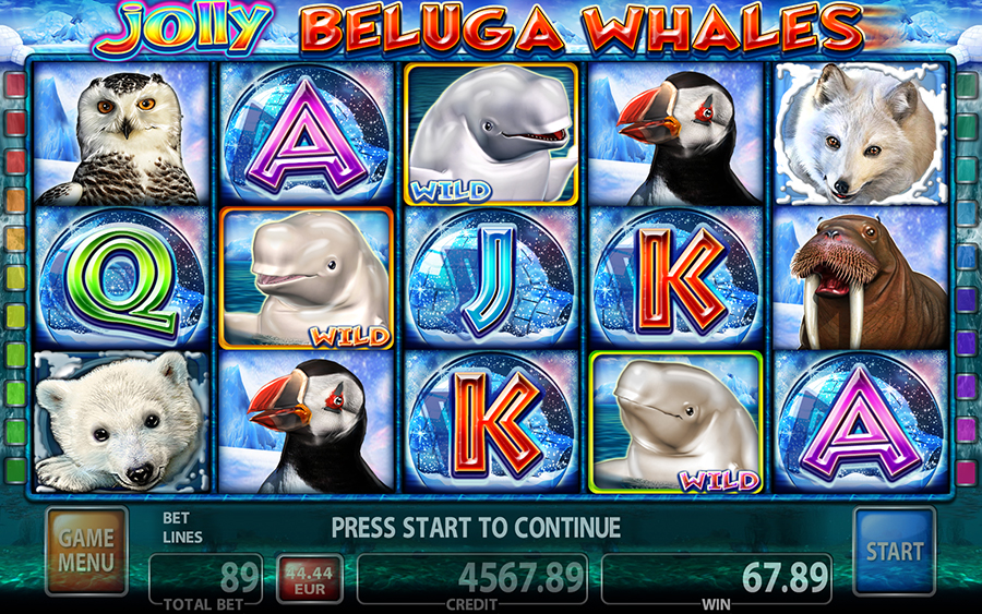 Jolly Beluga Whales Video Slot Game - Main Screen Mode