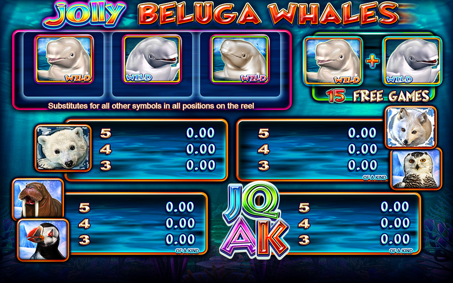 Jolly Beluga Whales Video Slot Game - Paytable