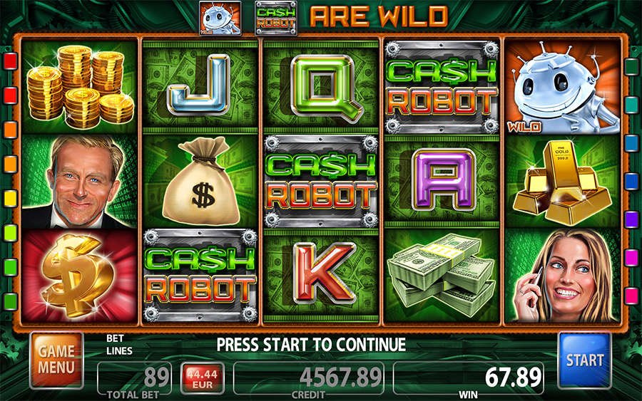 Cash Robot Video Slot Game - Main Screen
