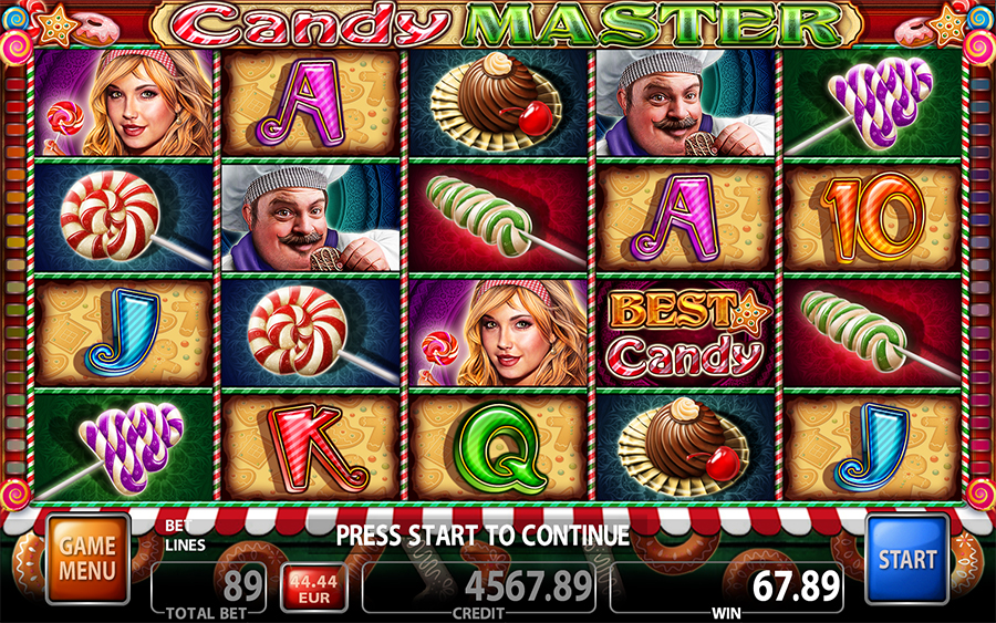 Candy Master Video Slot Game - Main Screen Mode