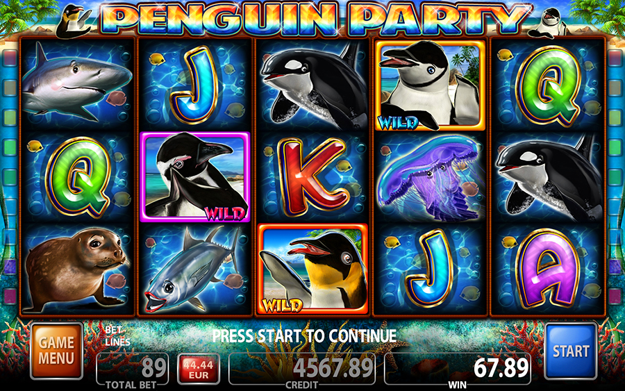 Penguin Party Video Slot Game - Main Screen Mode